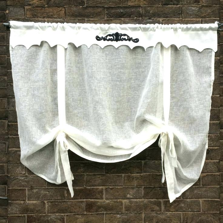 white tie up curtains photo - 1