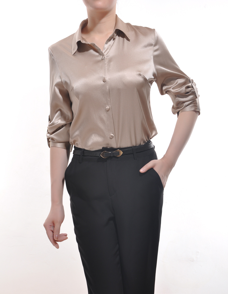 women silk blouse short sleeve solid office style button blouse shirt photo - 1