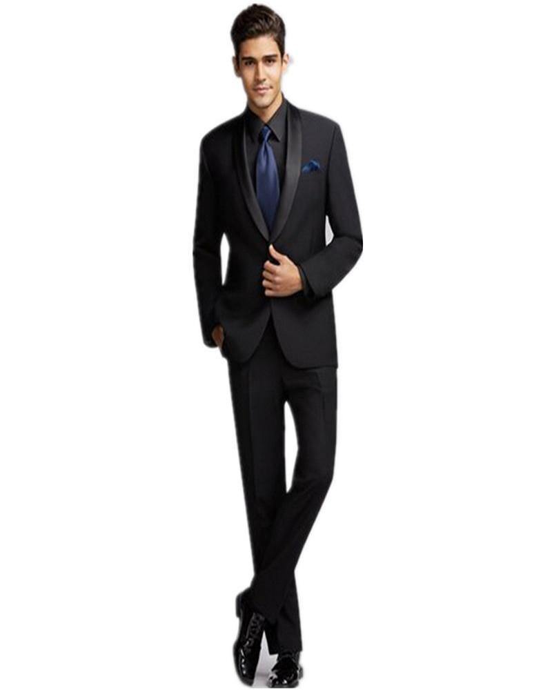 black suit black shirt black tie photo - 1