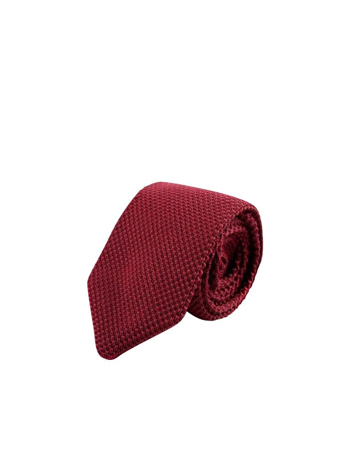 burgundy knitted tie photo - 1