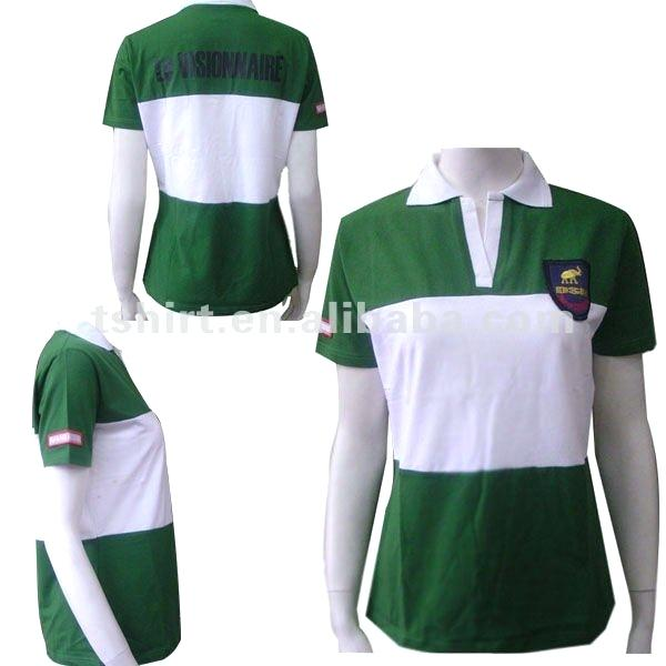 green and white striped polo shirt office space photo - 1
