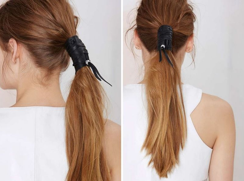 leather hair tie photo - 1