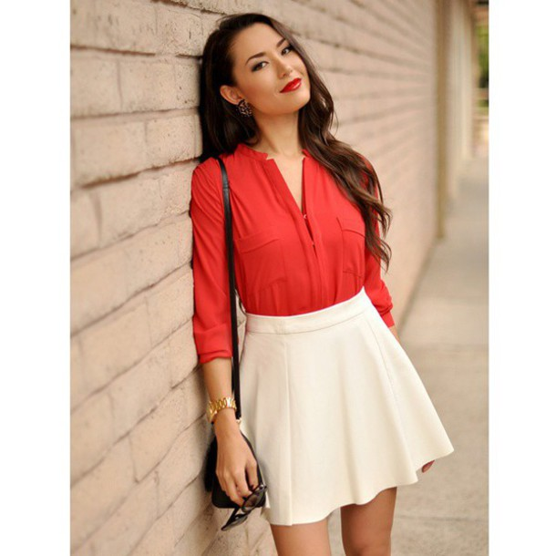 office sex red skirt white shirt photo - 1