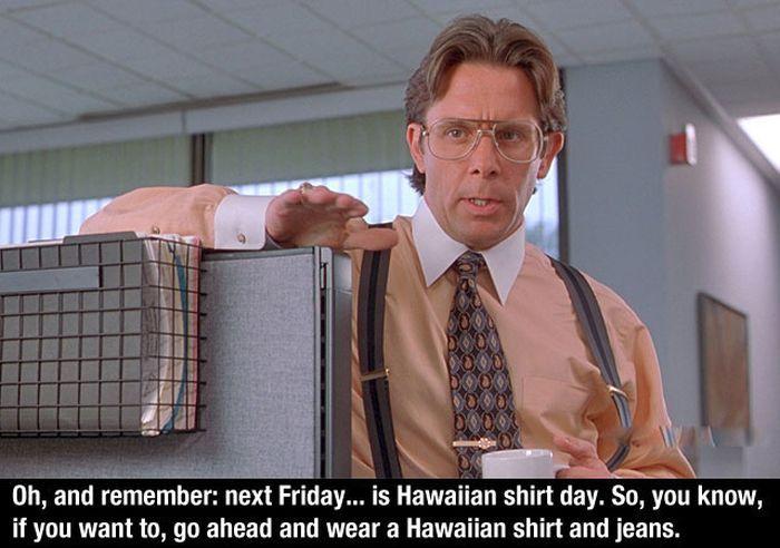 office space hawaiian shirt day photo - 1