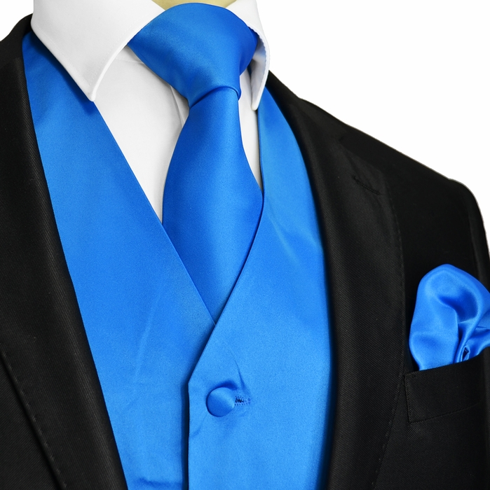 royal blue vest and bow tie photo - 1