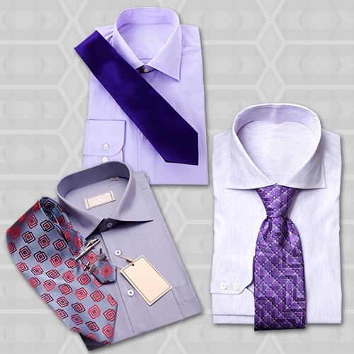 what color tie with purple shirt photo - 1