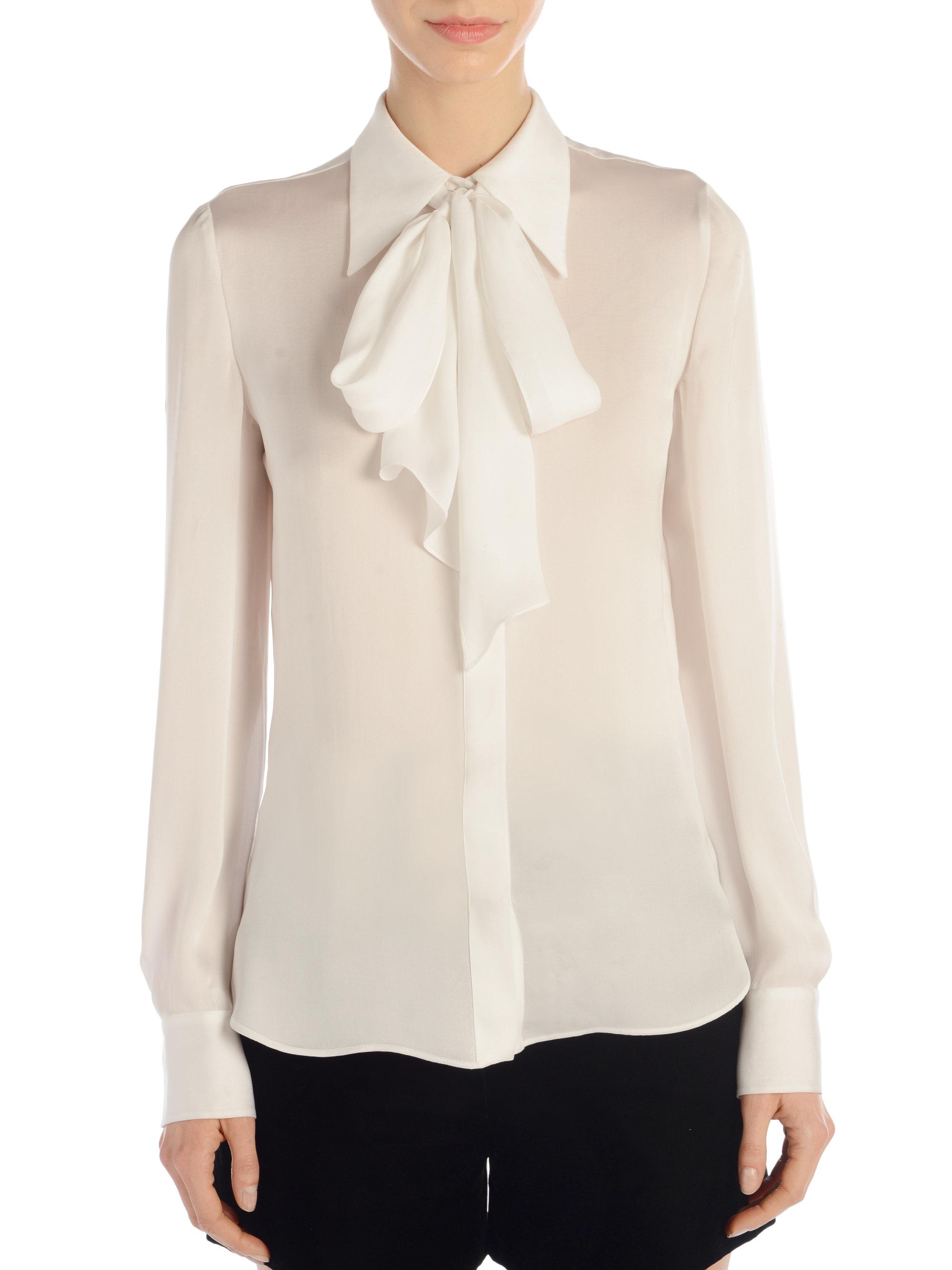 white tie front blouse photo - 1