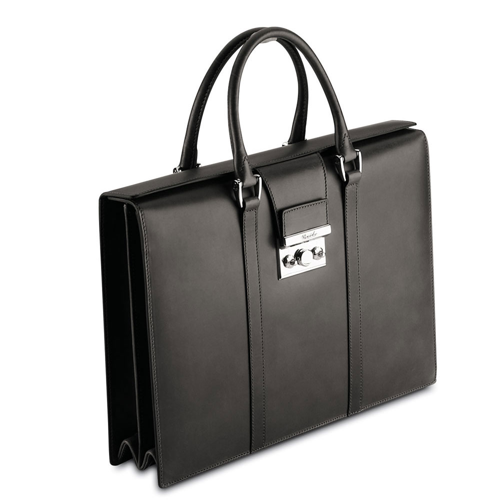 womens black leather briefcase photo - 1